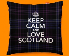Keep Calm Love Scotland Purple Funky Sofa Cushion 45x45cm