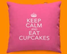 Keep Calm Eat Cupcakes Funky Sofa Cushion 45x45cm