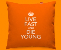Keep Calm Live Fast and Die Young Funky Sofa Cushion 45x45cm