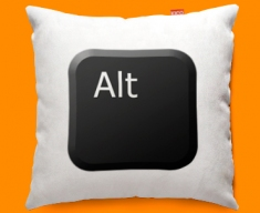 Keyboard Key Alt Black Funky Sofa Cushion 45x45cm