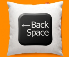 Keyboard Key Back Space Black Funky Sofa Cushion 45x45cm