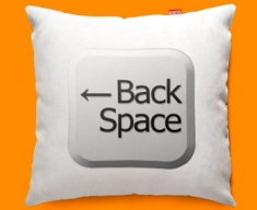 Keyboard Key Back Space White Funky Sofa Cushion 45x45cm
