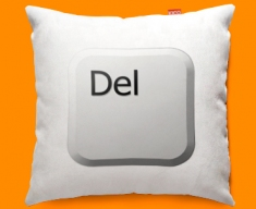 Keyboard Key Delete White Designer Cushions 45x45cm
