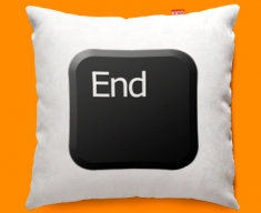 Keyboard Key End Black Funky Sofa Cushion 45x45cm