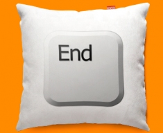 Keyboard Key End White Funky Sofa Cushion 45x45cm