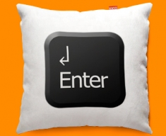 Keyboard Key Enter Black Funky Sofa Cushion 45x45cm