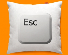 Keyboard Key Esc White Funky Sofa Cushion 45x45cm