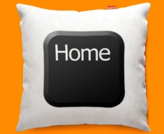 Keyboard Key Home Black Funky Sofa Cushion 45x45cm