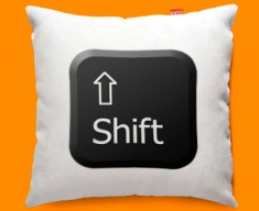 Keyboard Key Shift Black Funky Sofa Cushion 45x45cm