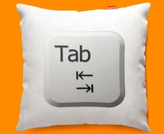 Keyboard Key Tab White Funky Sofa Cushion 45x45cm