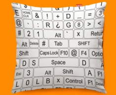 Keyboard Keys White Funky Sofa Cushion 45x45cm