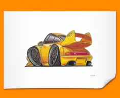 Porsche 911 GT Car Caricature Illustration Poster