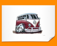 VW Camper Car Caricature Illustration Poster