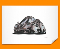 McClaren F1 GTR Car Caricature Illustration Poster