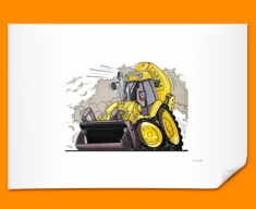 JCB Yellow Digger Car Caricature Illustration Poster
