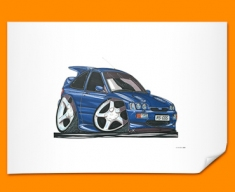 Ford Escort Cosworth Car Caricature Illustration Poster