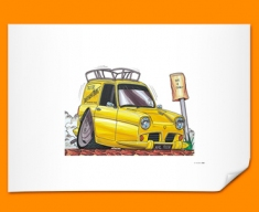 Only Fools And Horses Van Car Caricature Illustration Poster