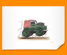 Land Rover Car Caricature Illustration Poster