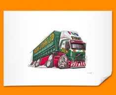 Eddie Stobart Car Caricature Illustration Poster