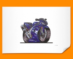 Yamaha R1 Motorbike Bike Caricature Illustration Poster