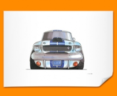 Ford Mustang Shelby Car Caricature Illustration Poster