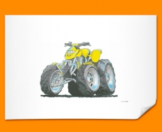 Quad Car Caricature Illustration Poster