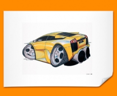 Lamborghini Murceilago Car Caricature Illustration Poster