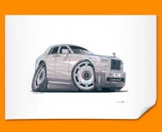 Rolls Royce Car Caricature Illustration Poster