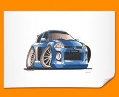 Renault Clio V6 Car Caricature Illustration Poster