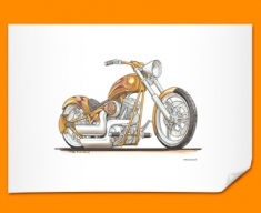 Harley Davidson Chopper Motorbike Bike Caricature Illustration Poster