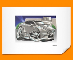 Aston Martin DBS Car Caricature Illustration Poster