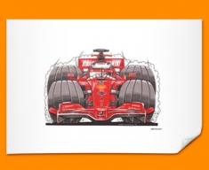 F1 Kimi Ferrari Car Caricature Illustration Poster