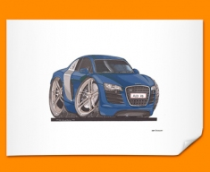 Audi R8 Car Caricature Illustration Poster