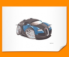 Bugatti Veyron Car Caricature Illustration Poster
