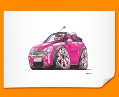 Mini Cooper Pink Car Caricature Illustration Poster
