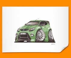 Ford Focus RS Car Caricature Illustration Poster