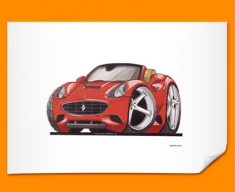 Ferrari California Car Caricature Illustration Poster