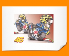 Valentino Rossi Car Caricature Illustration Poster