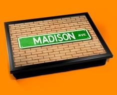 Madison Ave Street Sign Cushion Lap Tray