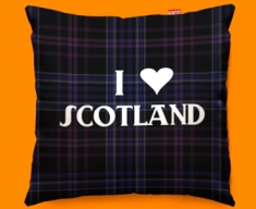 I Love Scotland Purple Funky Sofa Cushion 45x45cm