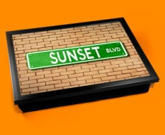 Sunset Blvd Street Sign Cushion Lap Tray