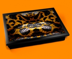 Yellow Snake Animal Skin Lap Tray